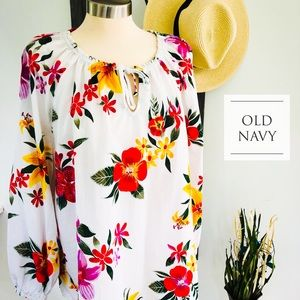 Old Navy White and Floral Peasant Top